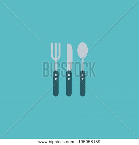 Flat Icon Cutlery Element. Vector Illustration Of Flat Icon Silverware Isolated On Clean Background. Can Be Used As Fork, Knife And Spoon Symbols.