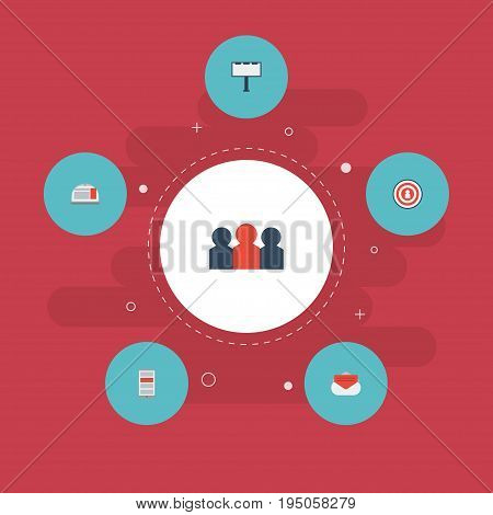 Flat Icons Placard, Audience, Message And Other Vector Elements. Set Of Marketing Flat Icons Symbols Also Includes Dartboard, People, Audience Objects.