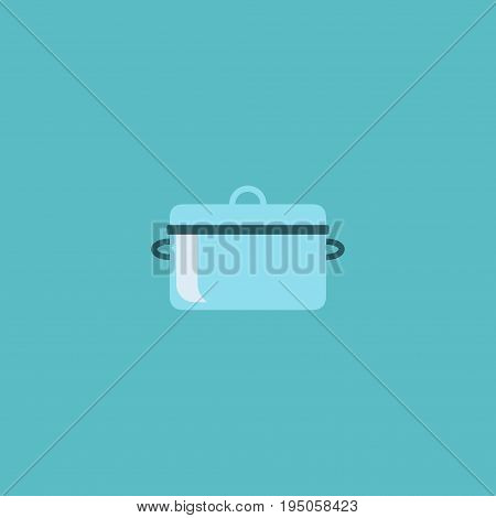 Flat Icon Saucepan Element. Vector Illustration Of Flat Icon Casserole Isolated On Clean Background. Can Be Used As Pan, Saucepan And Casserole Symbols.