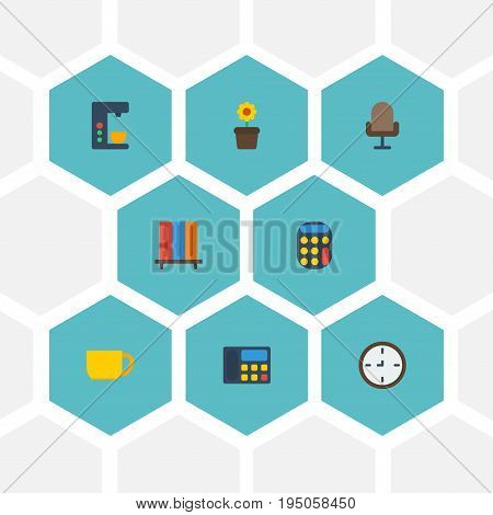Flat Icons Bookshop, Espresso Machine, Armchair And Other Vector Elements. Set Of Bureau Flat Icons Symbols Also Includes Watch, Phone, Bookcase Objects.