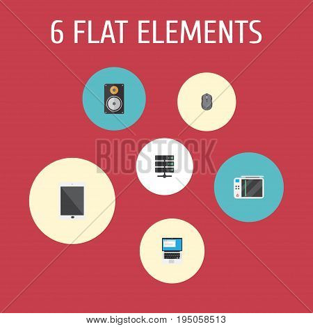Flat Icons Laptop, Amplifier, Slot Machine And Other Vector Elements. Set Of Laptop Flat Icons Symbols Also Includes PC, Loudspeaker, Database Objects.
