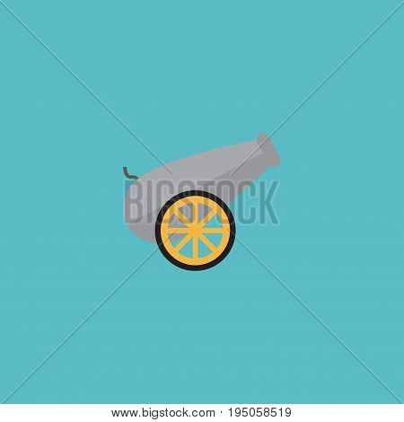 Flat Icon Cannon Element. Vector Illustration Of Flat Icon Artillery Isolated On Clean Background. Can Be Used As Cannon, Artillery And Ordnance Symbols.
