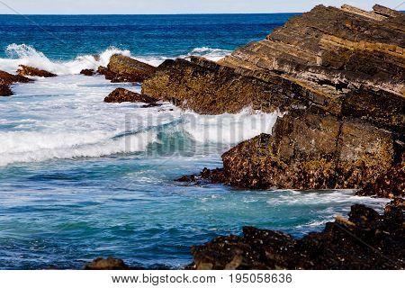 Surf Waves On Rocky Coastline - Blueys Beach, New South Wales, Australia