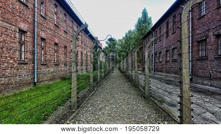 Classic historical view of Arbeit macht frei in Auschwitz Poland during the holocaust
