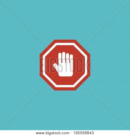 Flat Icon Hand Element. Vector Illustration Of Flat Icon Stop Sign Isolated On Clean Background. Can Be Used As Stop, Hand And Sign Symbols.