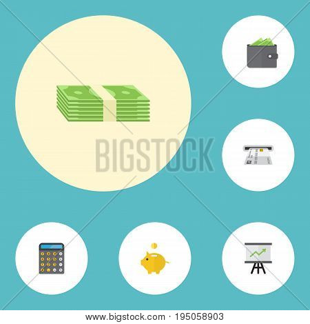 Flat Icons Teller Machine, Cash Stack, Growing Chart And Other Vector Elements. Set Of Banking Flat Icons Symbols Also Includes Accounting, Chart, Salary Objects.