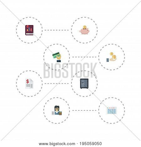 Flat Icons Moneybox, Sheet, Safe And Other Vector Elements. Set Of Recording Flat Icons Symbols Also Includes Accountant, Profit, Credit Objects.
