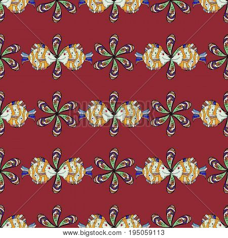 On colored background with flowers. Fabric textile seamless pattern with rever fishes Vector illustration.