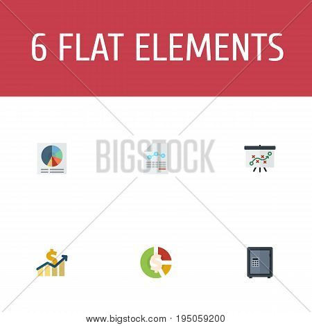 Flat Icons Paper, Pie Bar, Net Income And Other Vector Elements. Set Of Recording Flat Icons Symbols Also Includes Paper, Chart, Sheet Objects.