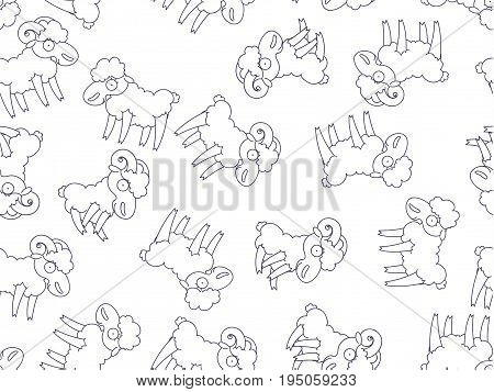 Pattern seamless funny cartoon, sheep, ram, goat.
