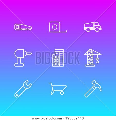 Vector Illustration Of 9 Construction Icons. Editable Pack Of Apartment, Hacksaw, Handcart Elements.