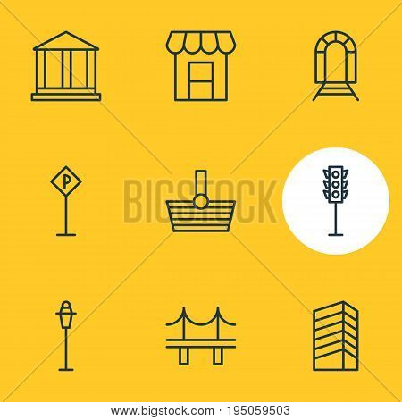 Vector Illustration Of 9 Public Icons. Editable Pack Of Road Sign, Courthouse, Skyscraper And Other Elements.