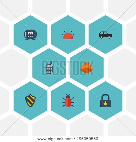 Flat Icons Shield, Armored Car, Hardhat And Other Vector Elements. Set Of Safety Flat Icons Symbols Also Includes Protection, Phone, Bug Objects.
