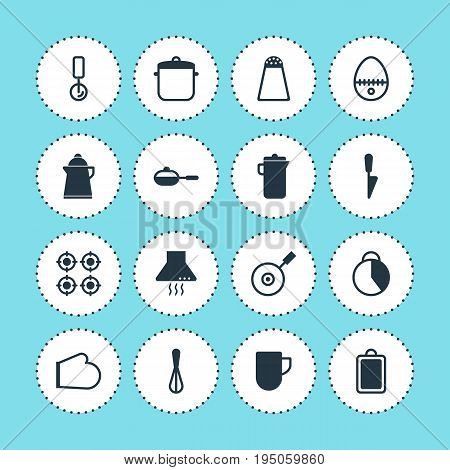 Vector Illustration Of 16 Restaurant Icons. Editable Pack Of Timekeeper, Tea, Soup Pan And Other Elements.