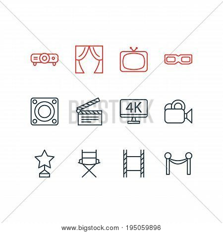Vector Illustration Of 12 Cinema Icons. Editable Pack Of Camera, Tv, Slideshow And Other Elements.