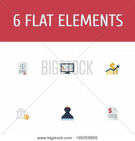 Flat Icons Bank, Net Income, Act And Other Vector Elements. Set Of Recording Flat Icons Symbols Also Includes Account, System, Accounting Objects.