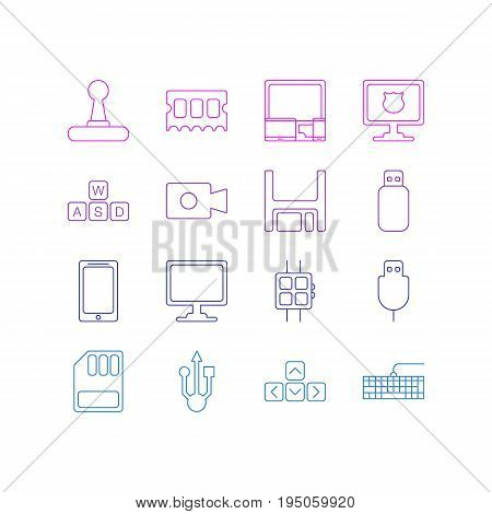 Vector Illustration Of 16 Notebook Icons. Editable Pack Of Keyboard, Screen, Serial Bus And Other Elements.