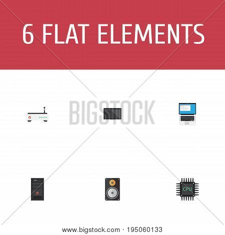 Flat Icons Microprocessor, Router, Monitor And Other Vector Elements. Set Of Laptop Flat Icons Symbols Also Includes Monitor, Cpu, Loudspeaker Objects.