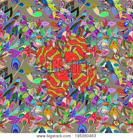 Seamless pattern with fishes. Abstract Vector illustration. Color image of repeating and alternating constituent elements. Decorative ornament.