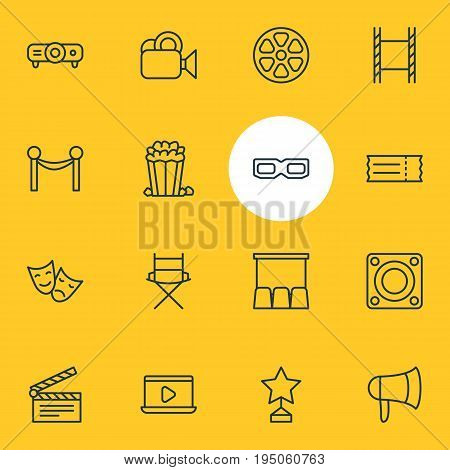 Vector Illustration Of 16 Movie Icons. Editable Pack Of Loudspeaker, Movie Reel, Slideshow And Other Elements.