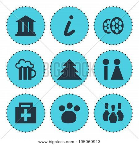 Vector Illustration Of 9 Travel Icons. Editable Pack Of Pet Shop, Map Information, University And Other Elements.