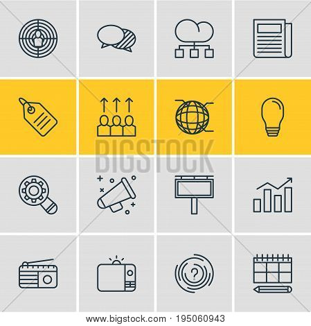 Vector Illustration Of 16 Advertising Icons. Editable Pack Of Aiming, Fm Broadcasting, Television And Other Elements.