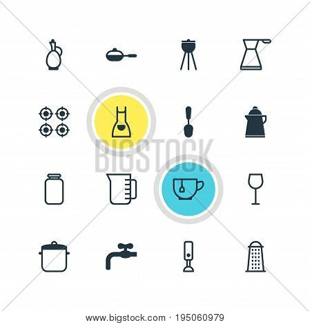 Vector Illustration Of 16 Cooking Icons. Editable Pack Of Can, Tablespoon, Smock And Other Elements.