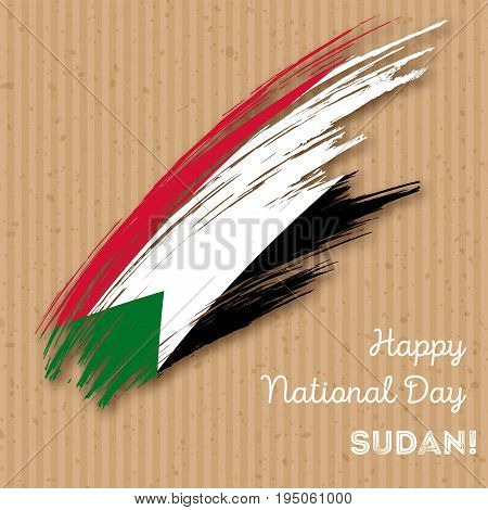 Sudan Independence Day Patriotic Design. Expressive Brush Stroke In National Flag Colors On Kraft Pa