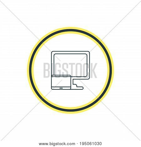 Vector Illustration Of Desktop Computer Outline. Beautiful Laptop Element Also Can Be Used As Tablet With PC Element.