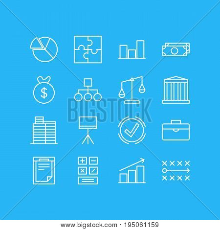 Vector Illustration Of 16 Trade Icons. Editable Pack Of Chart , Balance , Board Stand Elements.