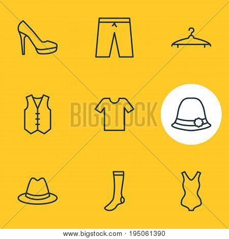 Vector Illustration Of 9 Dress Icons. Editable Pack Of Fedora, Waistcoat, Panama And Other Elements.