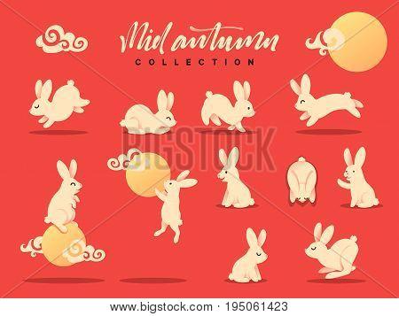 Set of happy rabbit illustration. Mid-Autumn festival. Collection funny bunny. Flat bunny c moon