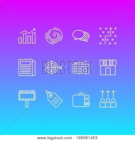 Vector Illustration Of 12 Marketing Icons. Editable Pack Of Goal, Fm Broadcasting, Shop And Other Elements.