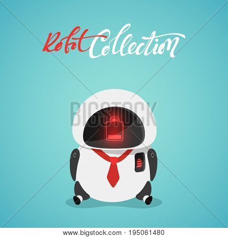 Character cute in flat style. Funny cartoon robot with a discharged battery.