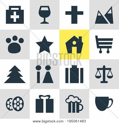Vector Illustration Of 16 Location Icons. Editable Pack Of Beer Mug, Jungle, Toilet And Other Elements.