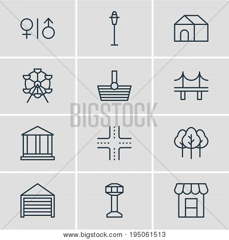 Vector Illustration Of 12  Icons. Editable Pack Of Intersection, Home, Awning And Other Elements.