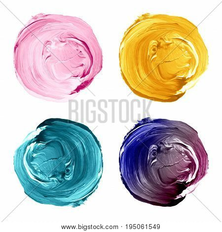 Set Of Colorful Acrylic Circles Isolated On White.