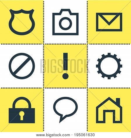 Vector Illustration Of 9 Interface Icons. Editable Pack Of Cogwheel, Mainpage, Access Denied And Other Elements.
