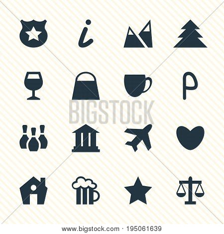 Vector Illustration Of 16 Travel Icons. Editable Pack Of University, Aircraft, Map Information And Other Elements.