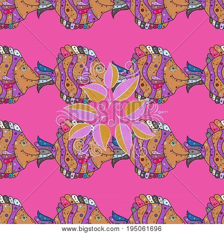Vector illustration. Of a seamless fish pattern in colors. Ink drawn style.