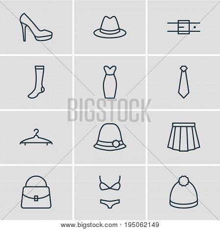 Vector Illustration Of 12 Dress Icons. Editable Pack Of Cravat, Fedora, Handbag Elements.