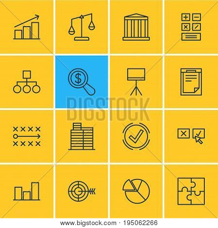 Vector Illustration Of 16 Management Icons. Editable Pack Of Balance, Riddle, Goal And Other Elements.
