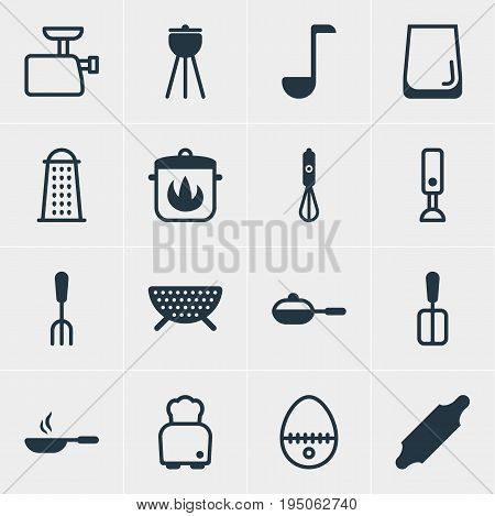 Vector Illustration Of 16 Cooking Icons. Editable Pack Of Stewpot, Cooking Spade, Mixer And Other Elements.