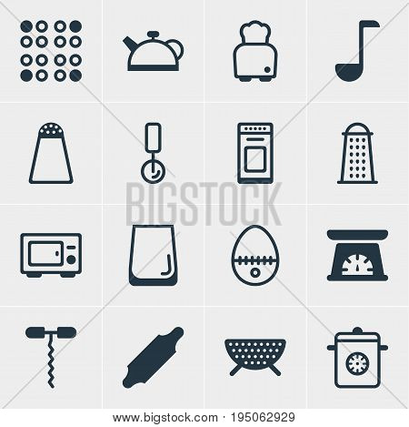 Vector Illustration Of 16 Restaurant Icons. Editable Pack Of Sieve, Steamer, Teakettle And Other Elements.