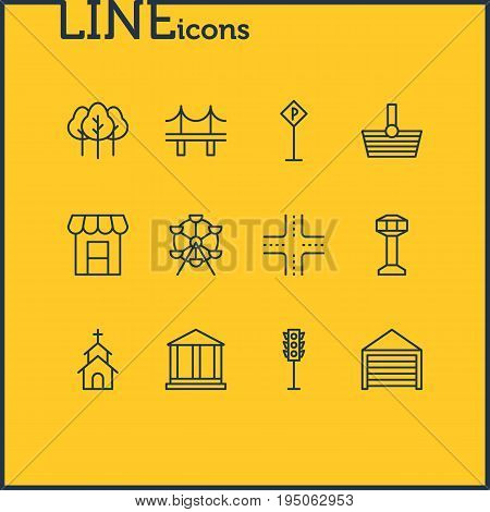 Vector Illustration Of 12 Public Icons. Editable Pack Of Building, Awning, Courthouse And Other Elements.