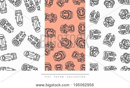 Pattern Tiki Totem in linear style vector illustration.