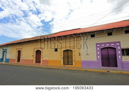 Colorful houses in the streets of the colonial city of Leon, Nicaragua, Central America