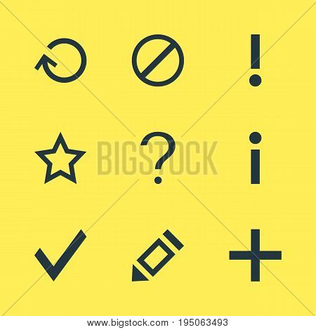 Vector Illustration Of 9 Interface Icons. Editable Pack Of Access Denied, Plus, Renovate And Other Elements.