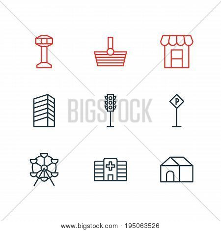 Vector Illustration Of 9  Icons. Editable Pack Of Awning, Ferris Wheel, Home And Other Elements.