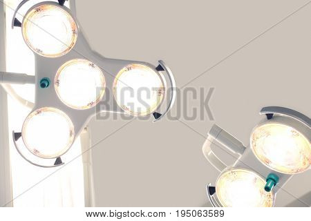 Closeup low angle view of operating room lighting